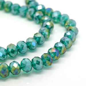 STAR BEADS: FACETED RONDELLE GLASS BEADS - EMERALD AB - Rondelle Beads