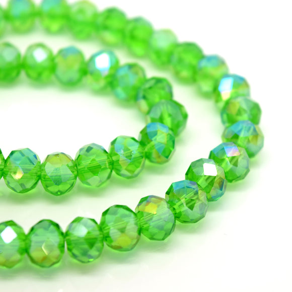 STAR BEADS: FACETED RONDELLE GLASS BEADS - FERN GREEN AB - Rondelle Beads