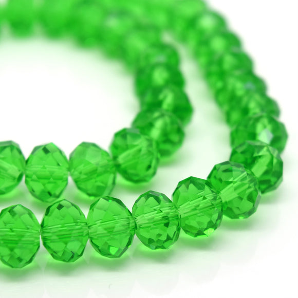 STAR BEADS: FACETED RONDELLE GLASS BEADS - FERN GREEN - Rondelle Beads