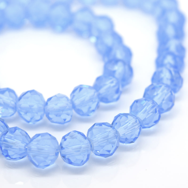STAR BEADS: FACETED RONDELLE GLASS BEADS - ICE BLUE - Rondelle Beads
