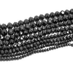Faceted Rondelle Glass Beads - Jet