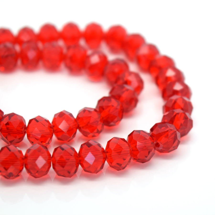 STAR BEADS: FACETED RONDELLE GLASS BEADS - LIGHT SIAM - Rondelle Beads
