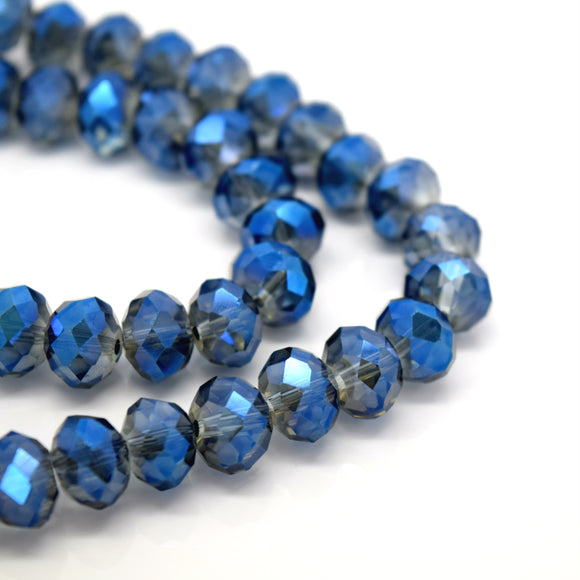 STAR BEADS: FACETED RONDELLE GLASS BEADS - GREY / METALLIC BLUE - Rondelle Beads