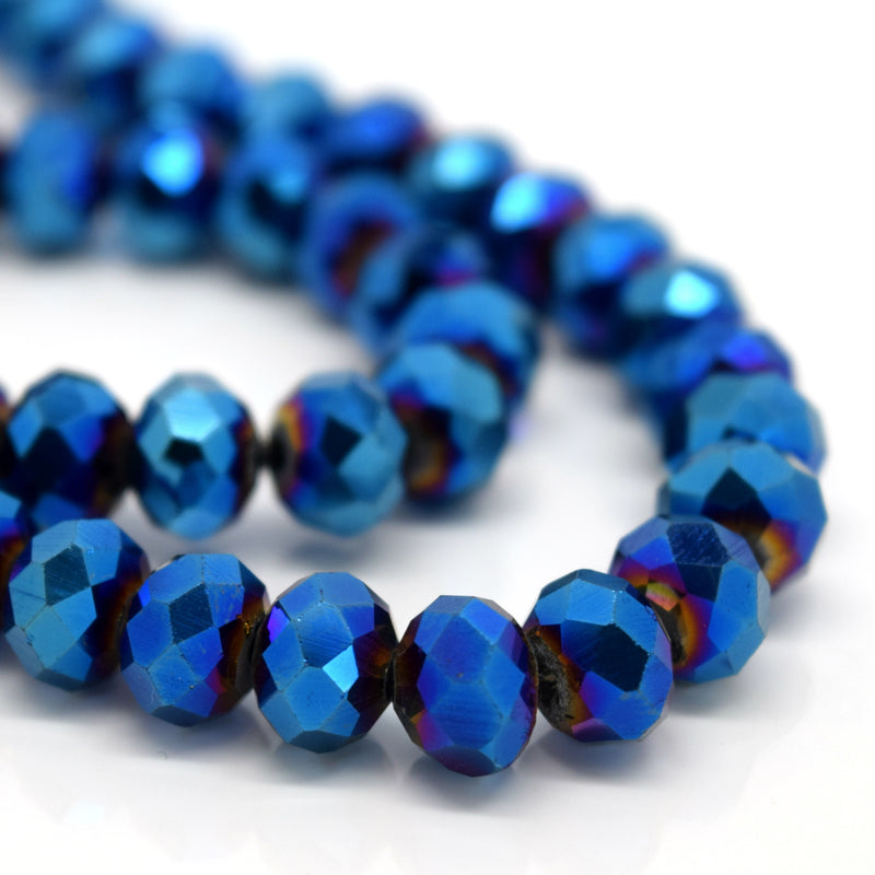 STAR BEADS: FACETED RONDELLE GLASS BEADS - METALLIC BLUE - Rondelle Beads