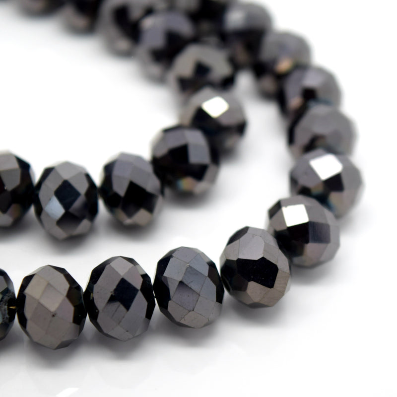 STAR BEADS: FACETED RONDELLE GLASS BEADS - METALLIC DARK COFFEE - Rondelle Beads