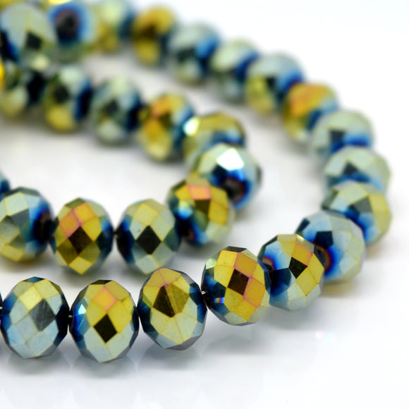 STAR BEADS: FACETED RONDELLE GLASS BEADS - METALLIC GOLD / GREEN - Rondelle Beads