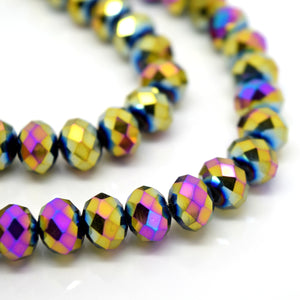 STAR BEADS: FACETED RONDELLE GLASS BEADS - METALLIC GOLD / PURPLE - Rondelle Beads
