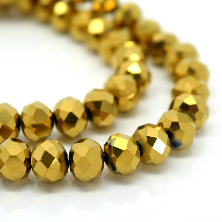 STAR BEADS: FACETED RONDELLE GLASS BEADS - METALLIC GOLD - Rondelle Beads