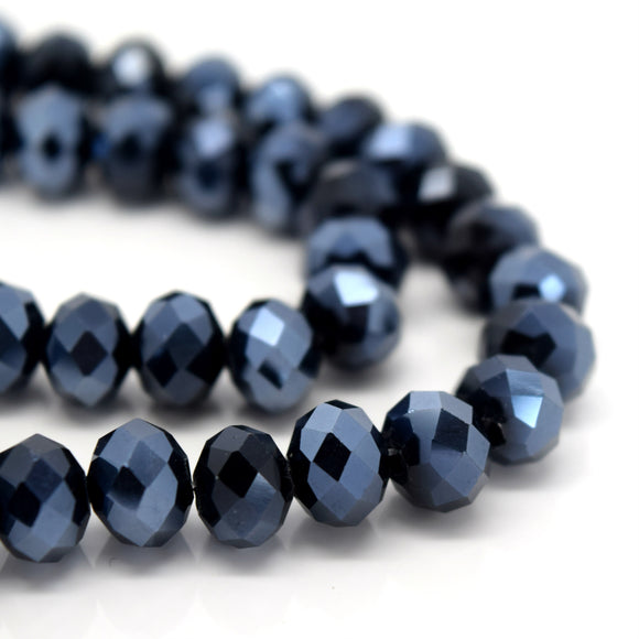 STAR BEADS: FACETED RONDELLE GLASS BEADS - METALLIC JET - Rondelle Beads