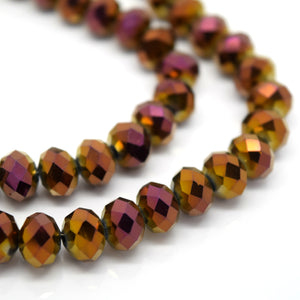 STAR BEADS: FACETED RONDELLE GLASS BEADS - METALLIC PALE PURPLE - Rondelle Beads