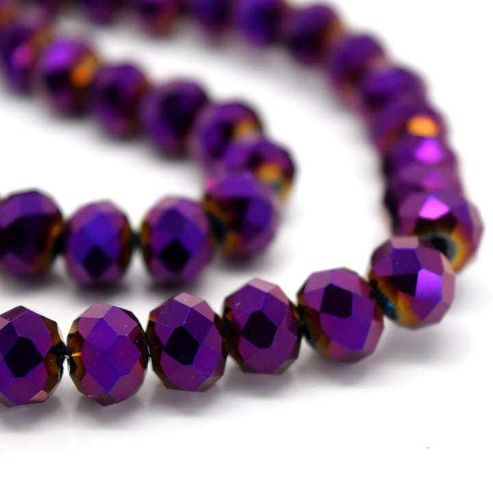 STAR BEADS: FACETED RONDELLE GLASS BEADS - METALLIC PURPLE - Rondelle Beads