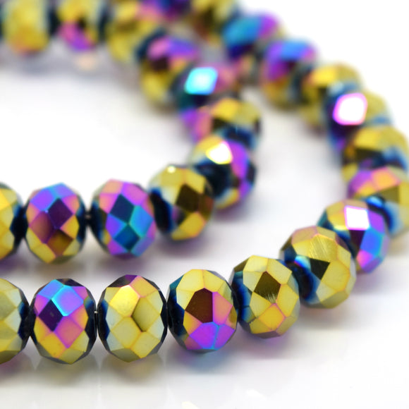 STAR BEADS: FACETED RONDELLE GLASS BEADS - METALLIC VITRAIL - Rondelle Beads