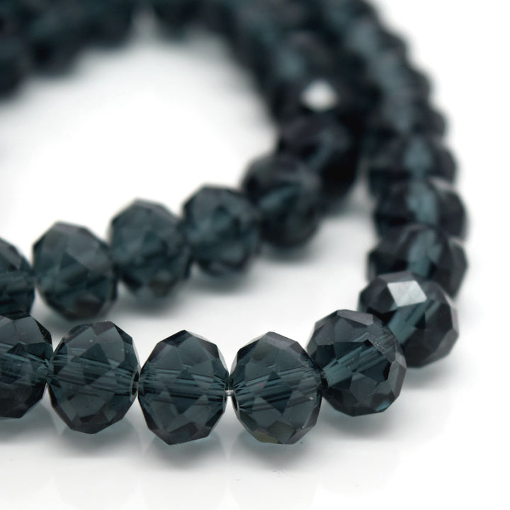 STAR BEADS: FACETED RONDELLE GLASS BEADS - MONTANA - Rondelle Beads
