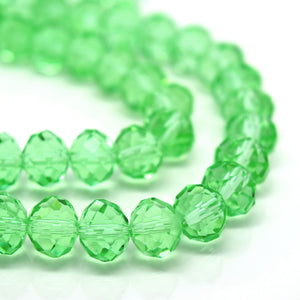 STAR BEADS: FACETED RONDELLE GLASS BEADS - PERIDOT - Rondelle Beads