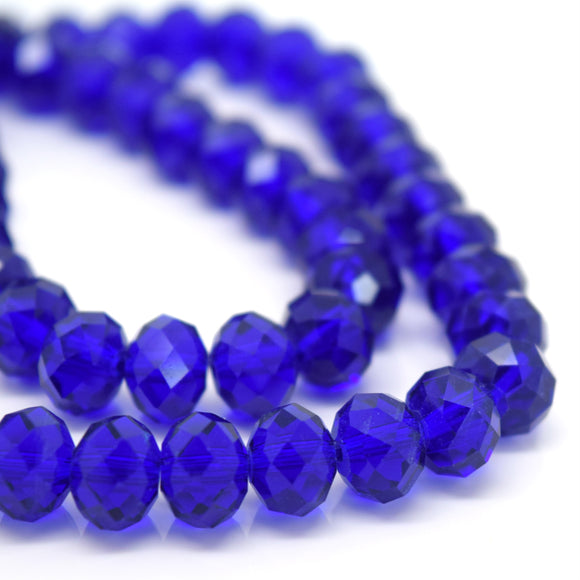STAR BEADS: FACETED RONDELLE GLASS BEADS - ROYAL BLUE - Rondelle Beads
