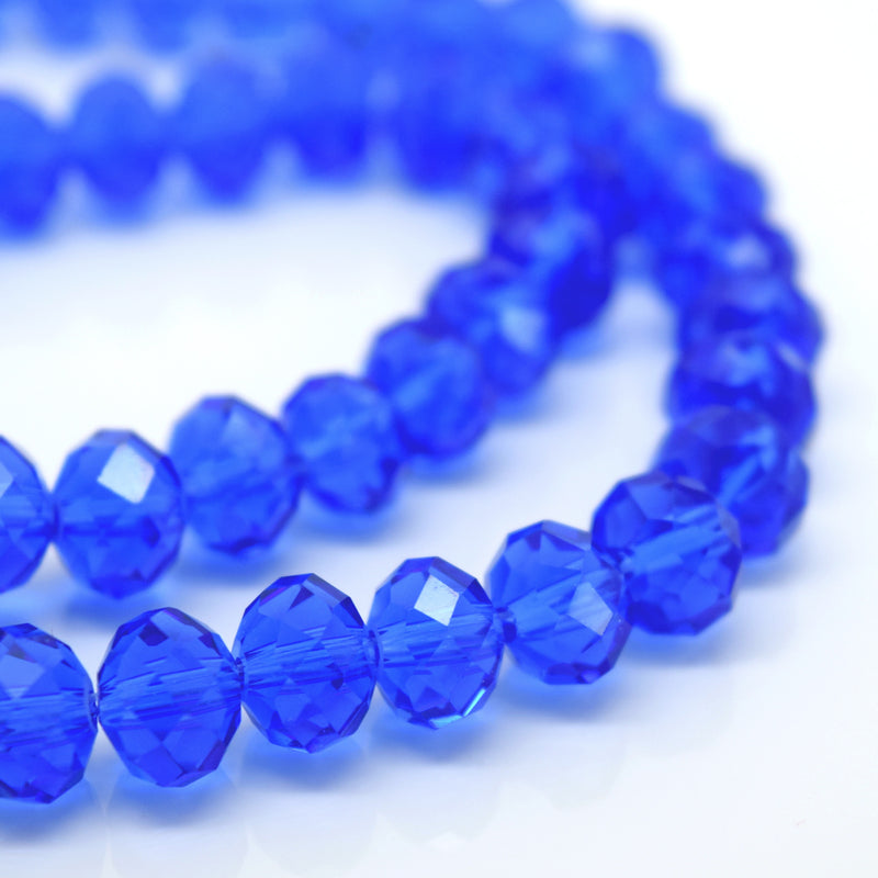 STAR BEADS: FACETED RONDELLE GLASS BEADS - SAPPHIRE - Rondelle Beads