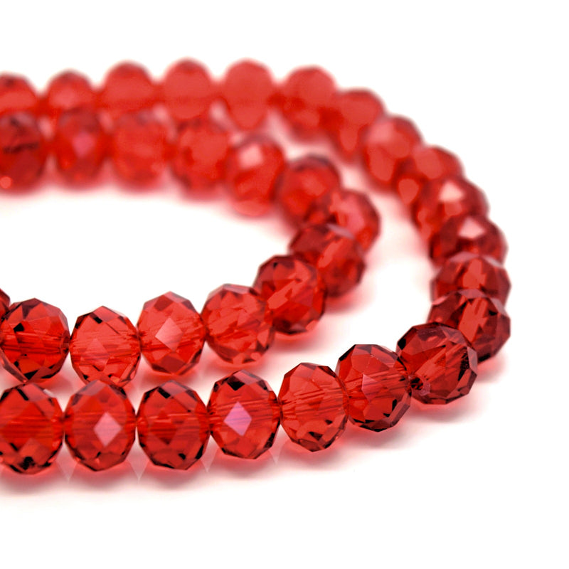 70 x Faceted Rondelle Glass Beads 10x8mm - Siam