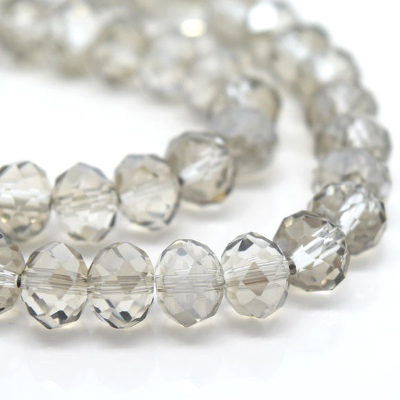STAR BEADS: FACETED RONDELLE GLASS BEADS - SILVER SHADE - Rondelle Beads