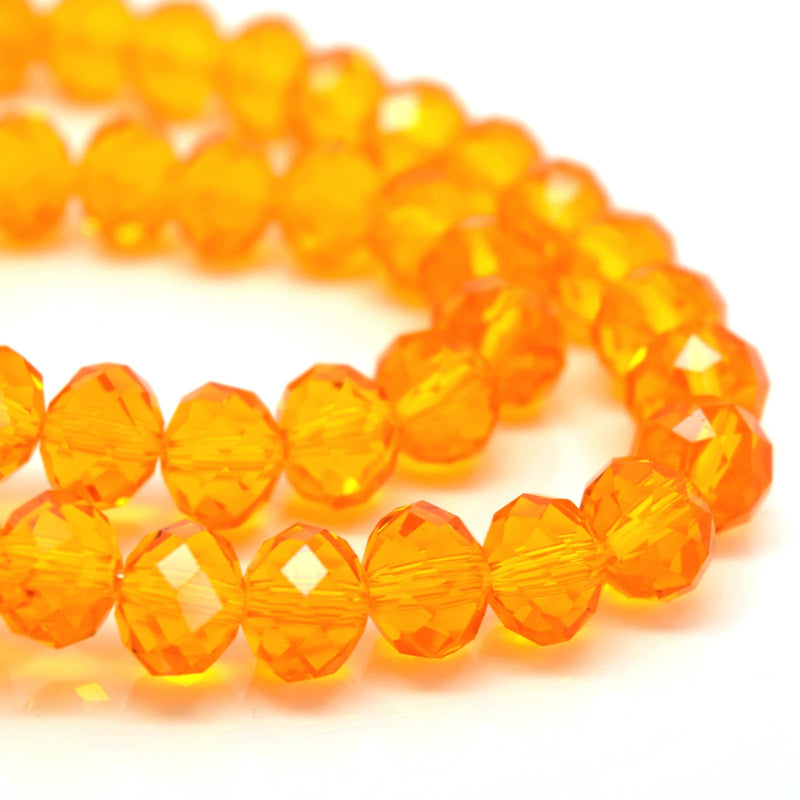 70 x Faceted Rondelle Glass Beads Sunflower - 8x6mm