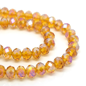 STAR BEADS: FACETED RONDELLE GLASS BEADS - TOPAZ AB - Rondelle Beads