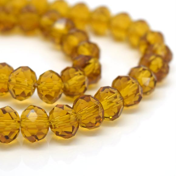 STAR BEADS: FACETED RONDELLE GLASS BEADS - TOPAZ - Rondelle Beads