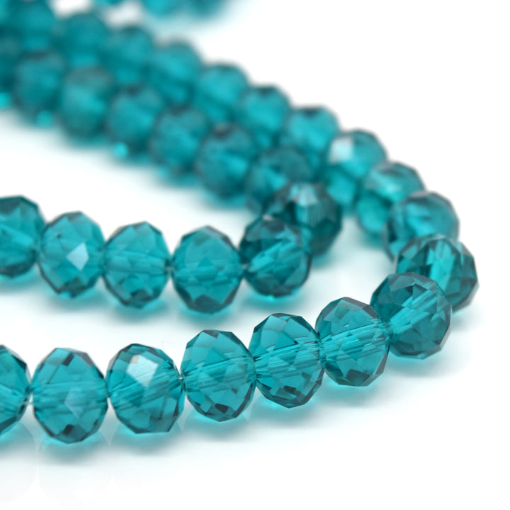 STAR BEADS: FACETED RONDELLE GLASS BEADS - TURQUOISE - Rondelle Beads