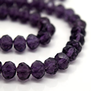 STAR BEADS: FACETED RONDELLE GLASS BEADS - VIOLET - Rondelle Beads