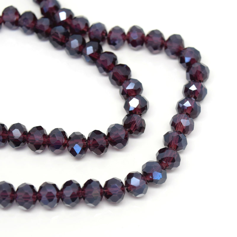 STAR BEADS: 98-100 x Faceted Rondelle Glass Beads 6mm - Dark Amethyst Lustre - Rondelle Beads