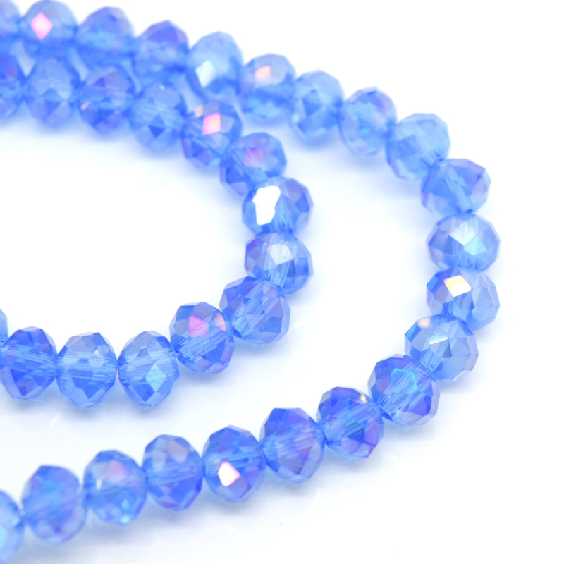 STAR BEADS: 98-100 x Faceted Rondelle Glass Beads 6mm - Dark Ice AB - Rondelle Beads