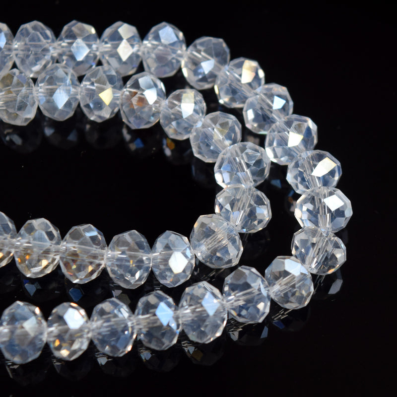 STAR BEADS: FACETED RONDELLE GLASS BEADS - MOONLIGHT - Rondelle Beads