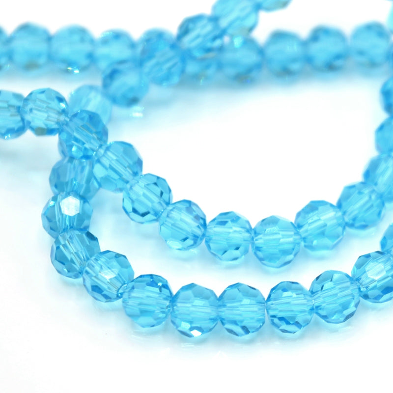 Faceted Round Glass Beads 4mm (190pcs) - Aquamarine