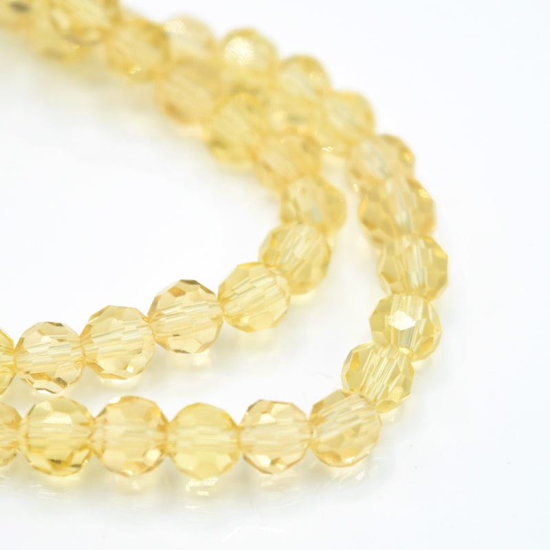 Faceted Round Glass Beads 4mm (190pcs) - Champagne