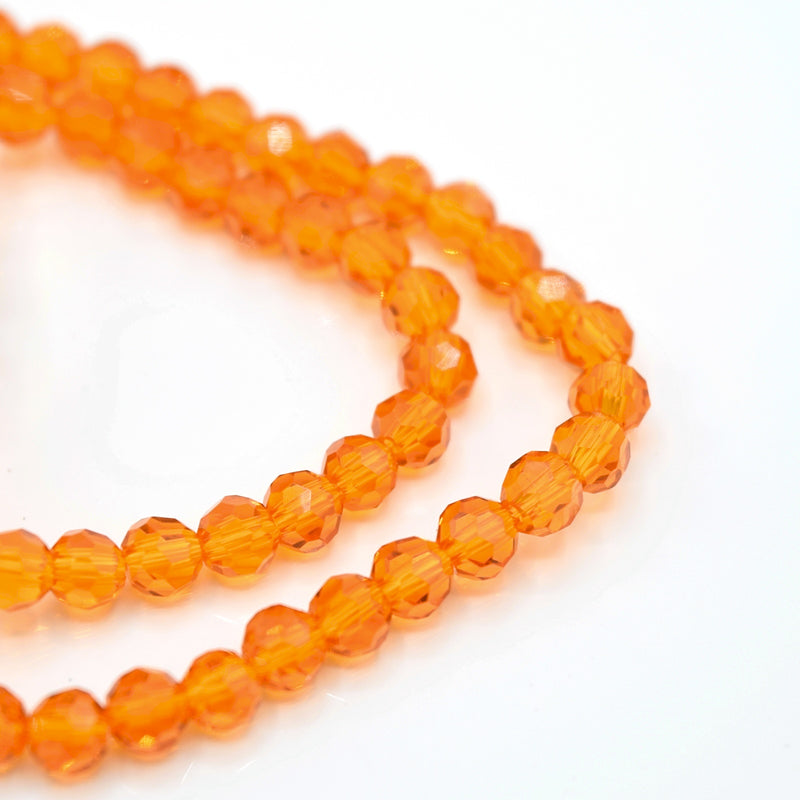 Faceted Round Glass Beads 4mm (190pcs) - Orange