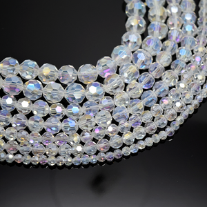 Faceted Round Glass Beads - Clear AB