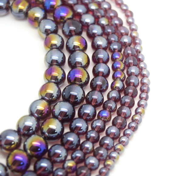Smooth Round AB Coated Glass Beads 4mm,6mm,8mm,10mm - Amethyst AB