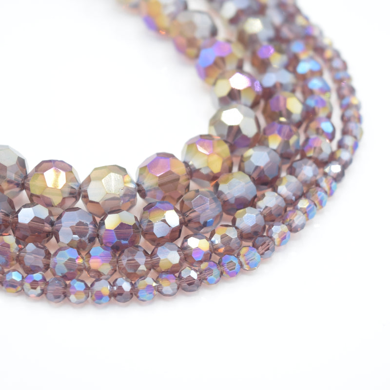 Faceted Round Glass Beads - Amethyst AB