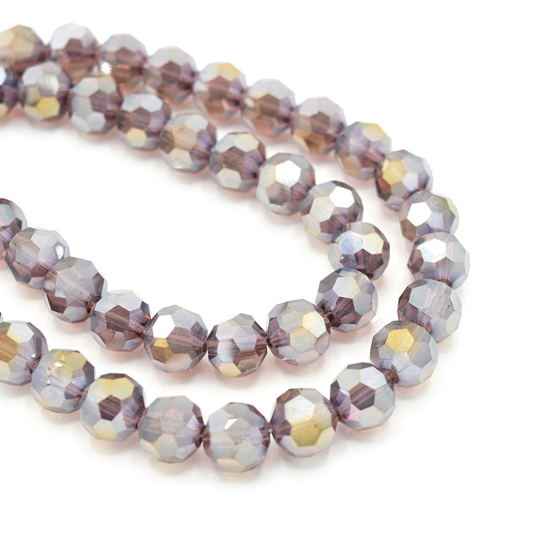 Faceted Round Glass Beads - Amethyst Lustre