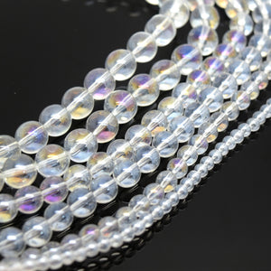 Smooth Round AB Coated Glass Beads 4mm,6mm,8mm,10mm - Clear AB