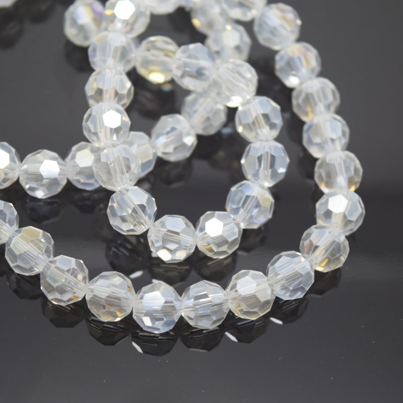 Faceted Round Glass Beads - Clear Lustre