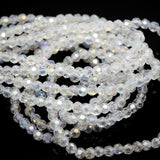 100 x Faceted Round Glass Beads 4mm - Clear AB