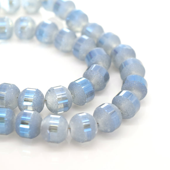 STAR BEADS: 70 x Round Electroplated Frosted Glass Beads 8x9mm - Marine Blue - Rondelle Beads