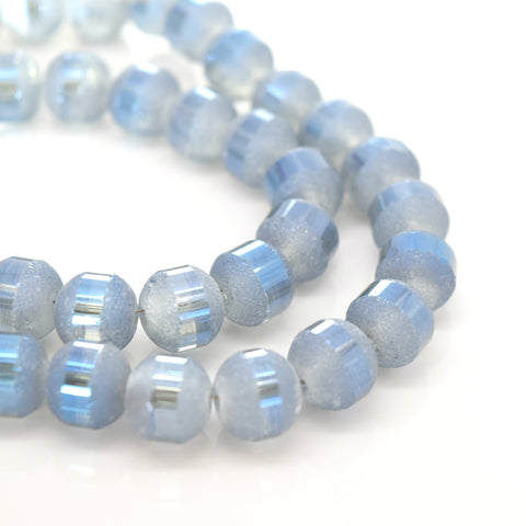 70 X ROUND ELECTROPLATED FROSTED GLASS BEADS 8X9MM MARINE BLUE
