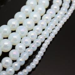 Smooth Round AB Coated Glass Beads 4mm,6mm,8mm,10mm - Opal AB