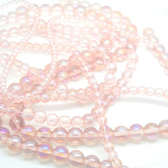 Smooth Round AB Coated Glass Beads 4mm,6mm,8mm,10mm - Pink AB