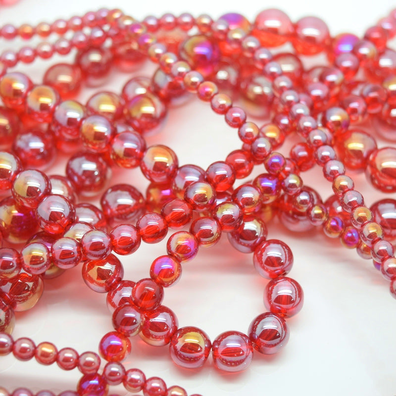 Smooth Round AB Coated Glass Beads 4mm,6mm,8mm,10mm - Lt Siam AB