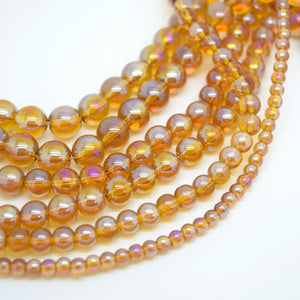 Smooth Round AB Coated Glass Beads 4mm,6mm,8mm,10mm - Topaz AB