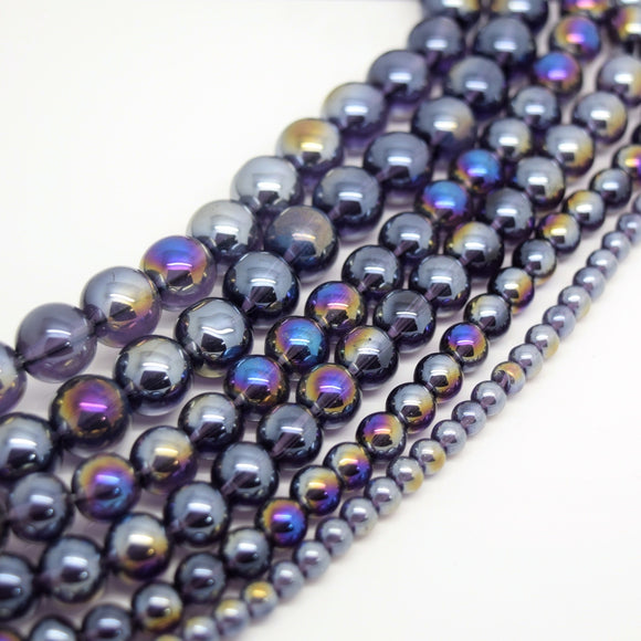 Smooth Round AB Coated Glass Beads 4mm,6mm,8mm,10mm - Violet AB