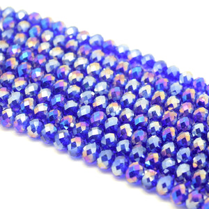 Faceted Rondelle Glass Beads - Royal Blue AB