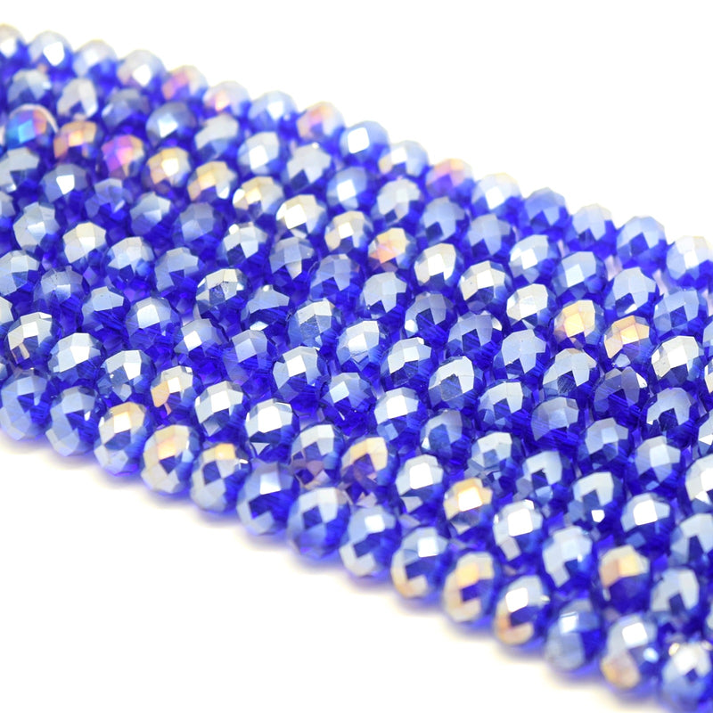 Faceted Rondelle Glass Beads - Royal Blue Lustre
