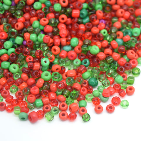 STAR BEADS: 15,000PCS SILVER LINED OPAQUE GLASS SEED BEADS 2X3MM (7/0) - RED / GREEN - Seed Beads